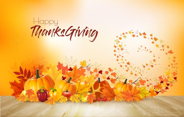 Осенний фон природы. с днем благодарения праздничная открытка со свежими овощами и красочными листьями. вектор.