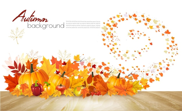 Nature autumn background. happy thanksgiving holiday card with fresh vegetables and colorful leaves. vector.