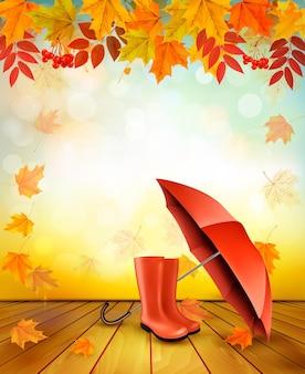Предпосылка осени природы с красочными листьями и зонтиком. вектор.