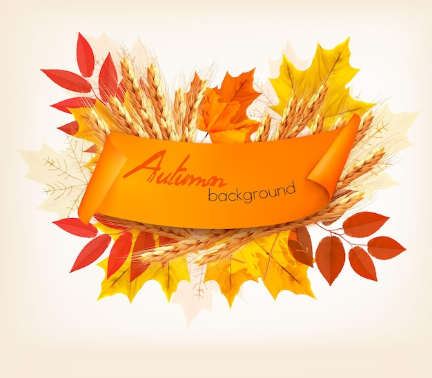 カラフルな葉と小麦と自然秋の背景。ベクター。