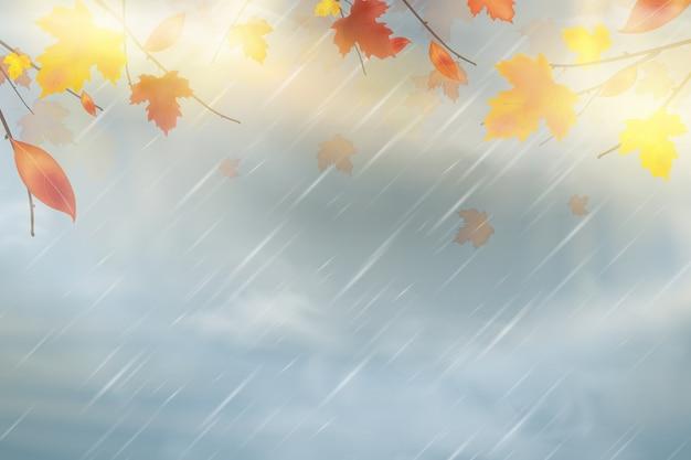 Предпосылка осени природы с падающими красными, желтыми, оранжевыми, коричневыми кленовыми листьями на небе.