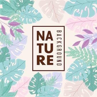 自然の背景、パステルカラーの熱帯の自然の葉と枝