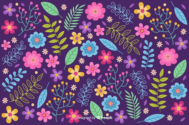 Nature background of colorful flowers