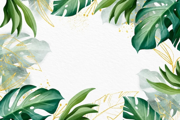 Nature background design with golden foil