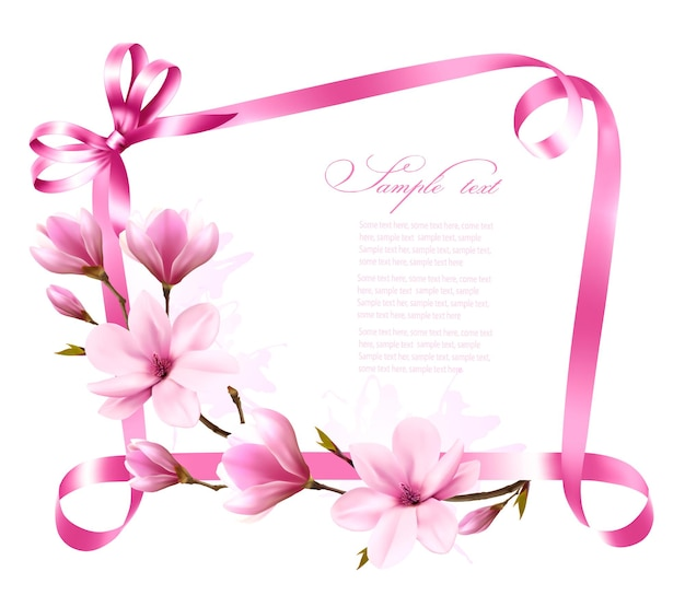 Nature background with blossom branch of magnolia and pink ribbon. vector
