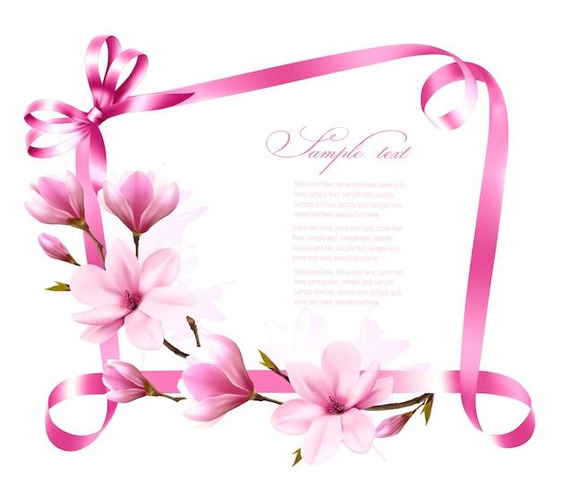 Предпосылка природы с ветвью цветения магнолии и розовой лентой. вектор