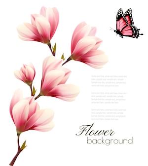 ピンクの花と蝶の花の枝と自然の背景。ベクター