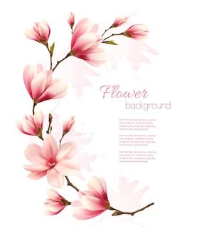 ピンクの花の花のブランチと自然の背景。ベクター