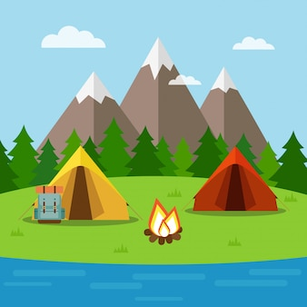 Nature background with camping, forest, mountains and lake