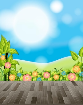 Природа фон с цветочным полем и зеленой травой