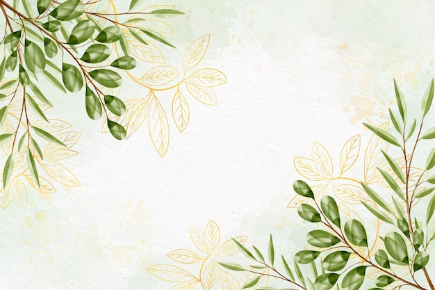 Nature background with golden foil