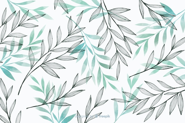 Nature background with gray and blue leaves