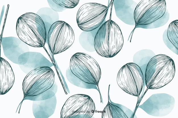 Nature background with hand drawn leaves