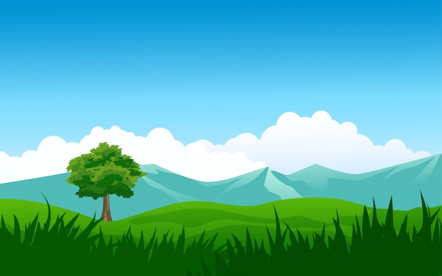 Nature background with mountain and field
