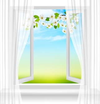 Nature background with open window and spring blossom of cherry.