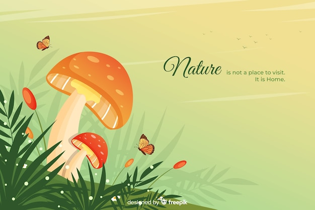 Nature background with quote flat design