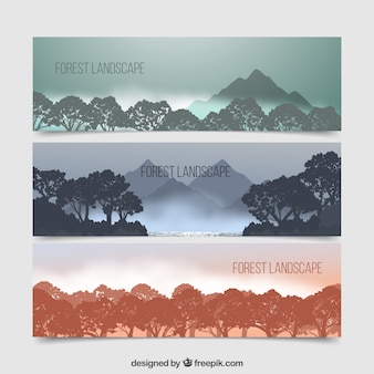 Nature banners set with landscape silhouettes