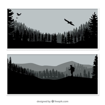 Nature banners with silhouettes