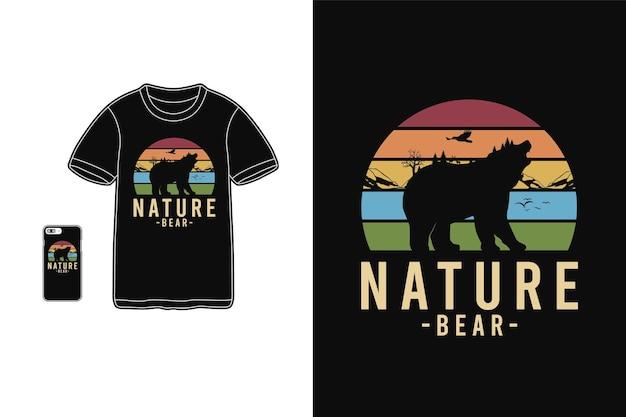 Nature bear,t-shirt merchandise silhouette retro style Premium Vector