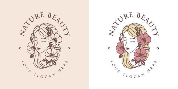 Nature beauty lineart logo template