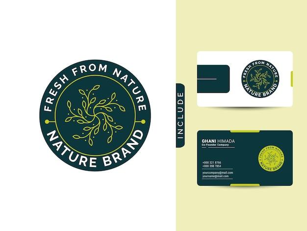 自然の美しさのロゴのデザインコンセプトには、モダンな名刺が含まれています