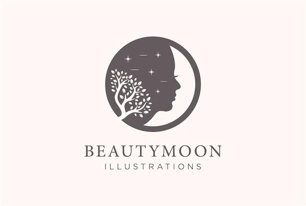 Nature beauty moon logo design.