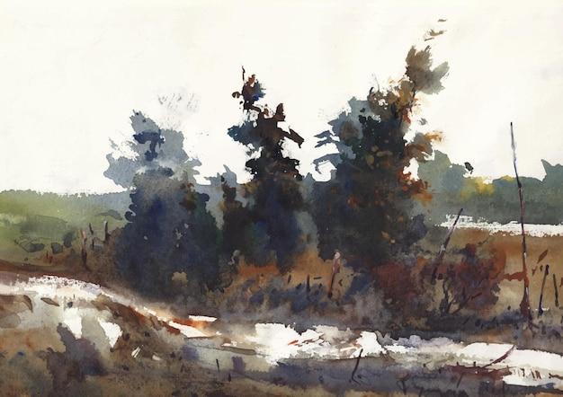 Природа у дороги в деревне пейзажная живопись на бумаге