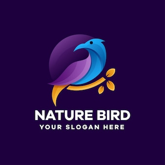 Природа птица градиент дизайн логотипа