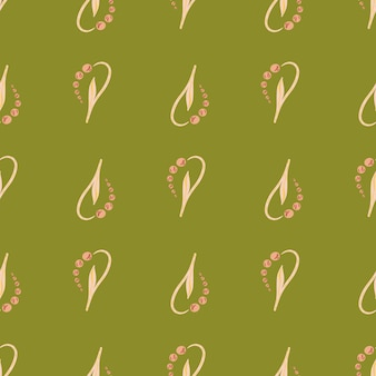谷の花の形の淡いピンクのユリと自然の花のシームレスなパターン。緑の背景。ストックイラスト。テキスタイル、ファブリック、ギフトラップ、壁紙のベクターデザイン。