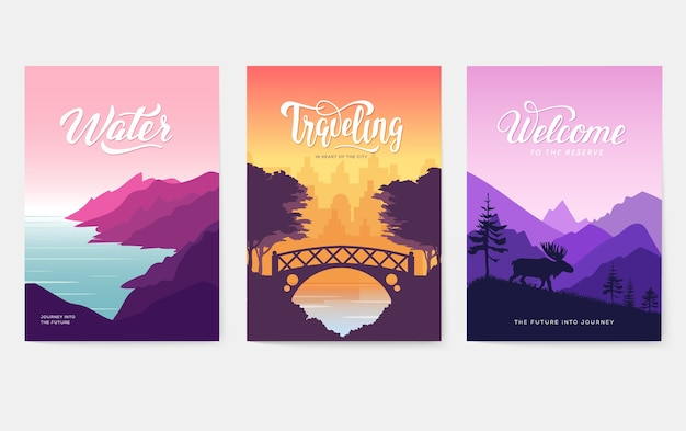 Nature  brochure cards set. ecology template of flyear, magazines, poster, book cover,banners.