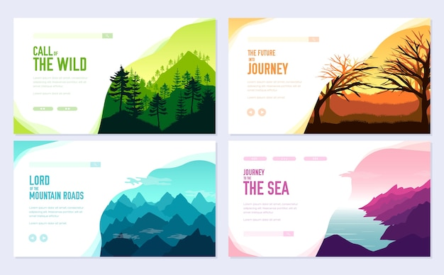 Nature  brochure cards set. ecology template of flyear, web banner, ui header, enter site.