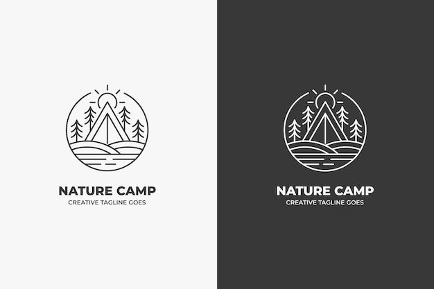 자연 캠프 하이킹 야외 빈티지 로고
