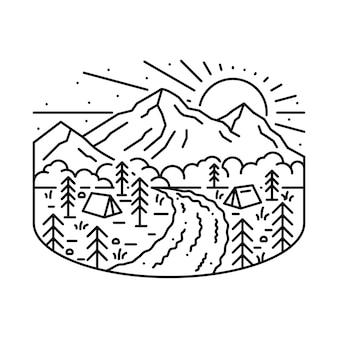 Nature camping hiking adventure line illustration