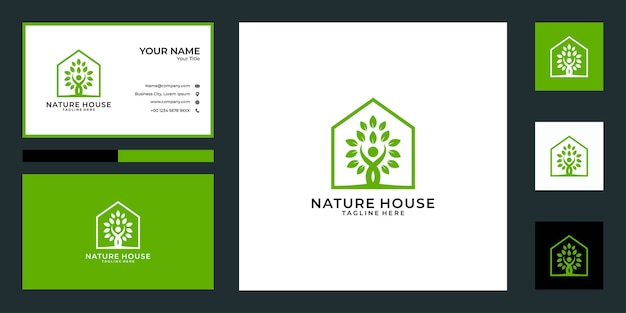 Дизайн логотипа дома по уходу за природой и визитная карточка