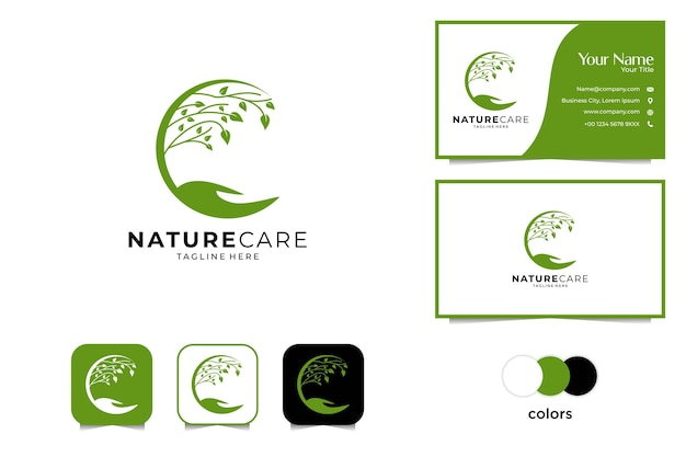 Nature care with tree and hand logo design and business card