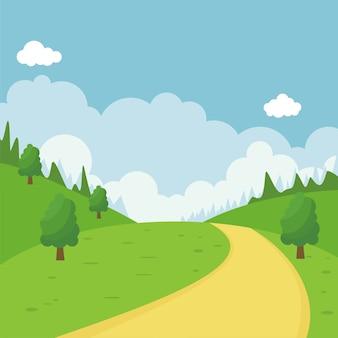 Природа мультфильм пейзаж иллюстрация с плоским дизайном