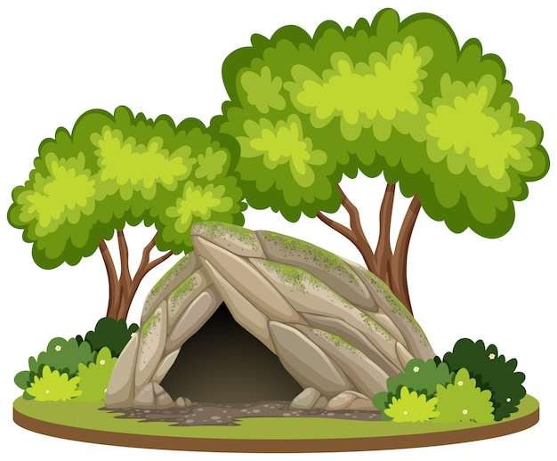 Nature cave white background