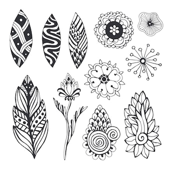 Nature collection in zentangle style. hand drawn vector set with doodle flowers and leaves