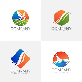 Nature colorful logo set