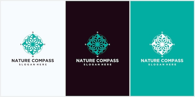 自然コンパスのロゴデザイン。自然の葉の組み合わせとコンパスアイコンシンボル、自然のロゴデザインベクトルテンプレートとコンパス。