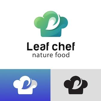 ベジタリアン、ダイエット、ビーガン、シェフの帽子のロゴデザインの野菜のための健康食品を調理する自然