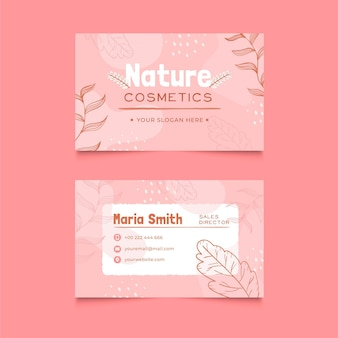 Nature cosmetics horizontal business card