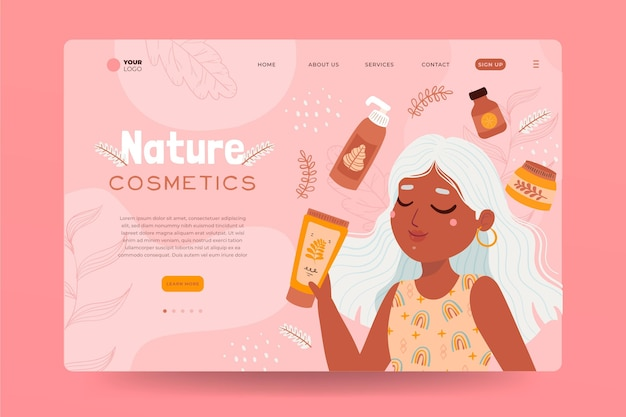 Nature cosmetics landing page template with woman illustrated