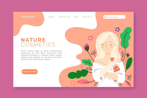Шаблон целевой страницы натуральной косметики Бесплатные векторы