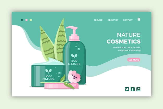 Modello di pagina di destinazione di cosmetici naturali