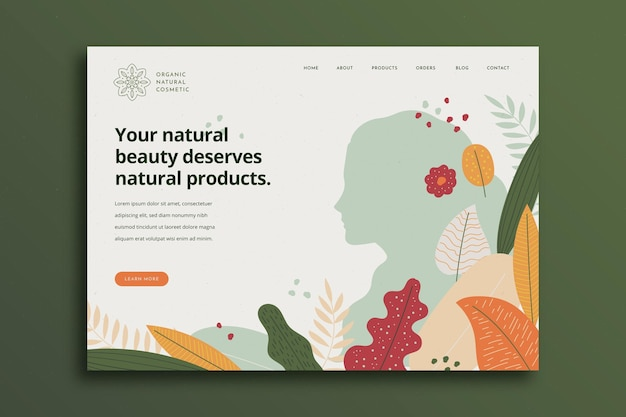 Nature cosmetics landing page