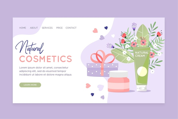 Pagina di destinazione dei cosmetici naturali