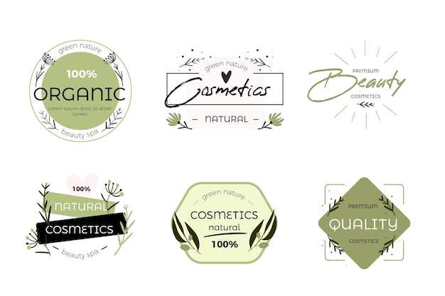 Nature cosmetics logo collection design