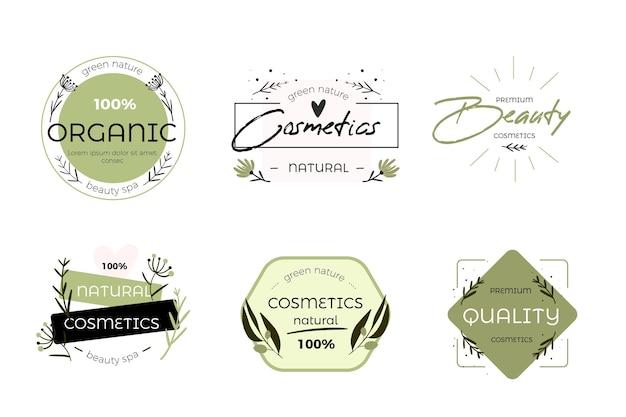 Design della collezione di logo di cosmetici naturali