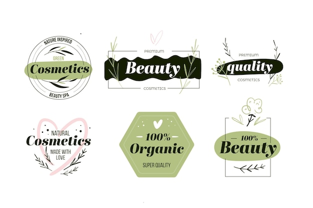 Nature cosmetics logo collection style